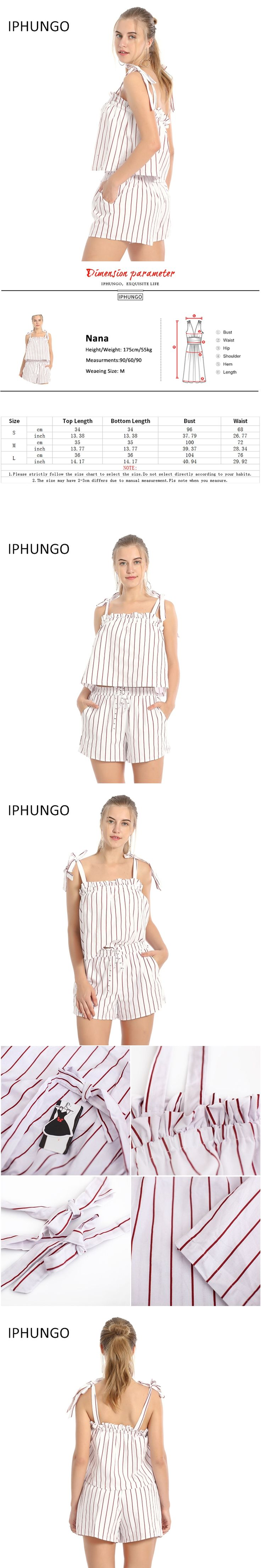 Tracksuits IPHUNGO 2017 Stripe Elegant Jumpsuit Romper Off Shoulder Two Piece Suit Overalls Sexy Beach Playsuit Women Outfit