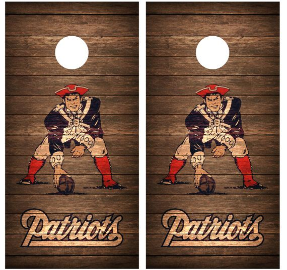 New England Patriots Vintage Wood Cornhole Decal Wrap on Etsy, $64.95