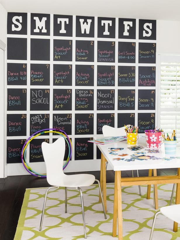 You'll want this pin when you're decorating a playroom! #chalkboard #paint #hgvmagazine http://www.hgtv.com/handmade/how-to-giant-chalkboard-calendar/index.html?soc=pinterest