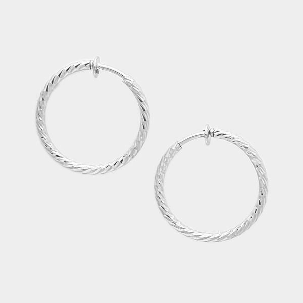 Clip On Silver Twisted Spring Back Hoop Earrings 1 4