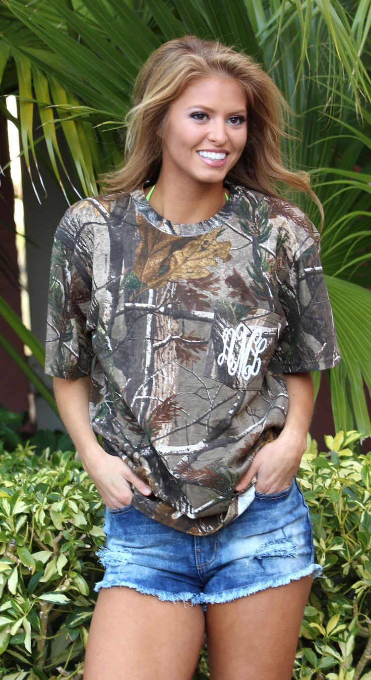 Monogrammed Short Sleeve Camo T-Shirt | Marleylilly.com