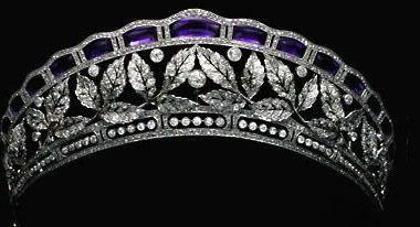 Antique Tiara of the Fouche D'Otrante family (amethysts, diamonds).