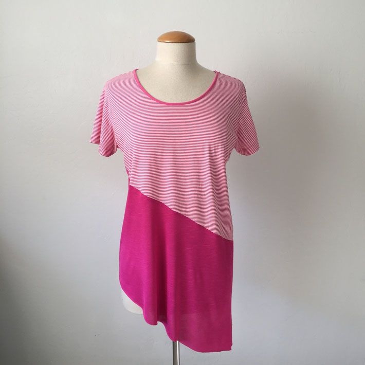 color block diagonal seam t-shirt Refashion