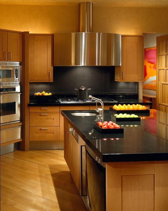 Valley Vista - modern kitchen, hood, black counter tops by Jamie Herzlinger Interiors