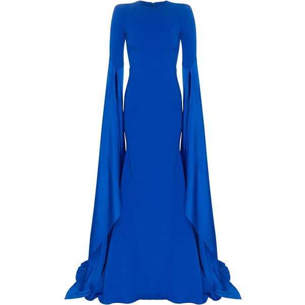 Alex Perry     The Alana Satin Crepe Long Sleeve Split Gown ($2,100) ❤ liked on Polyvore featuring dresses, gowns, royal blue, royal blue ball gown, royal blue dress, blue kimono, blue dress and blue evening gown