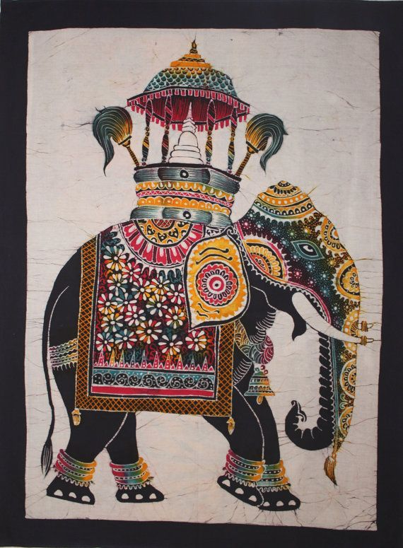 Batik Wall Hanging  Elephant Tapestry Batik Art