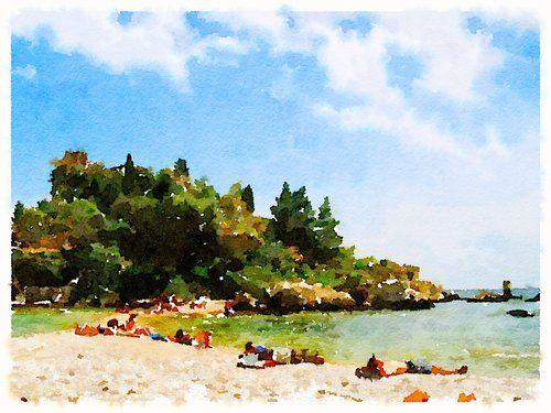 Beach in Sicily Art, original art, art prints for sale, travel art, support artists, art for sale online, Society6 artist, travel, adventure, Italian art, beach, suntanning, mediterranean, Lindsay Shapka art
