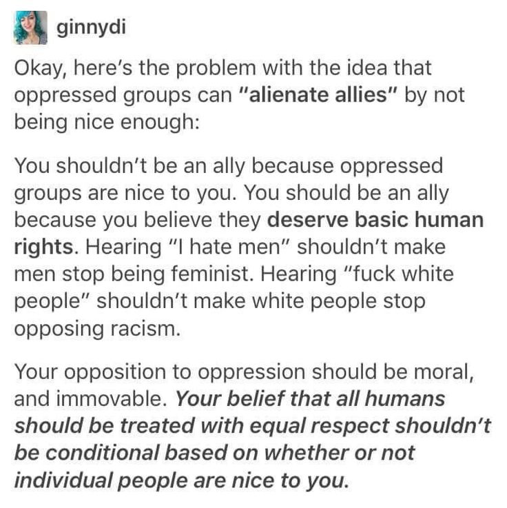 """This is such an important point. Since Trump's election, I have read so many comments to the tune of """"this is all the fault of identity politics! White men just got so sick of being blamed for everything, and that's why we voted for a racist, sexist fraud!"""" Maybe if people talking about their problems upsets you, you should, I dunno, examine your own behaviour to see why."""