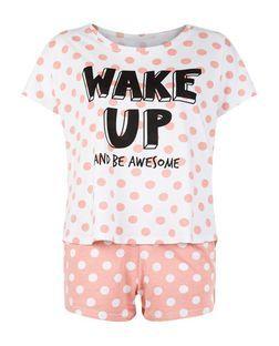 Teens Coral Wake Up And Be Awesome Print Pyjama Set | New Look