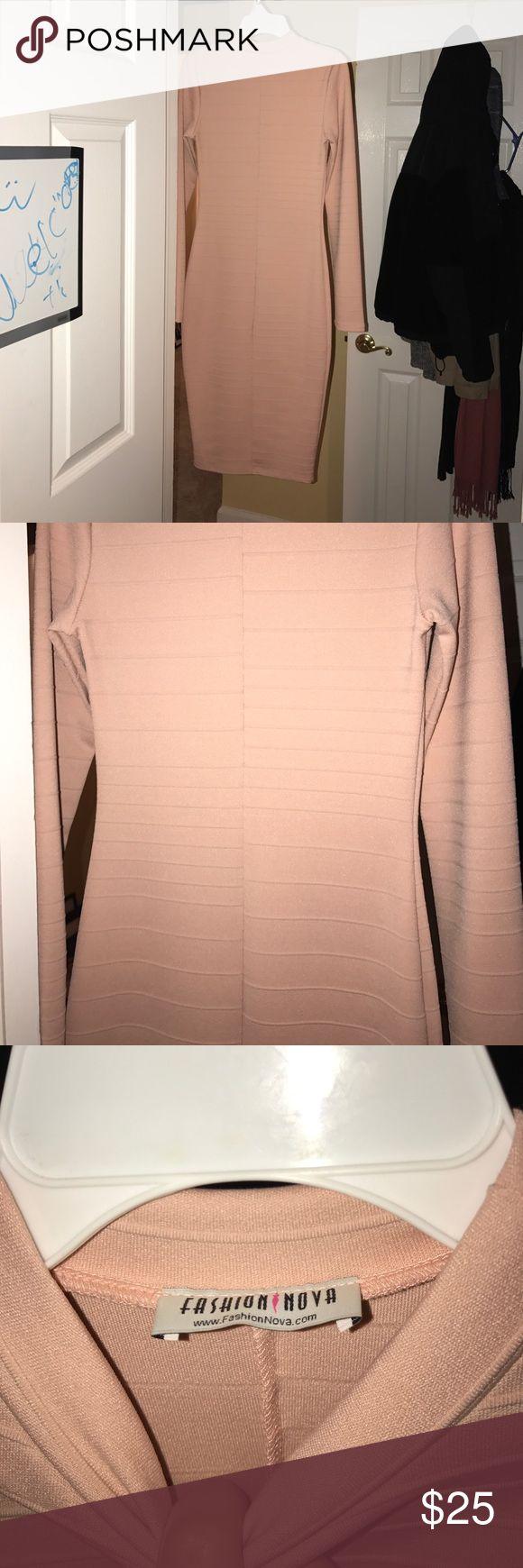 Pale Pink bandage Dress Never Worn Pale Pink long Sleeve Dress. Brand New Never worn!!!! Beautiful dress Dresses Midi