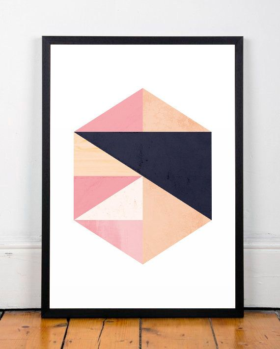 Aquarel abstract kunst marmer geometrische print kunst aan