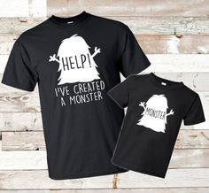 Father's Day - Help! I've created a monster - Matching shirts - Father daughter - Father son - Matching dad shirt - Dad daughter - Dad son by thepicklepopsicle on Etsy https://www.etsy.com/listing/294199369/fathers-day-help-ive-created-a-monster
