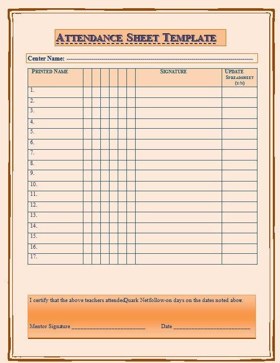 Pinterestu0027teki 25u0027den fazla en iyi Attendance sheet template fikri - attendance template