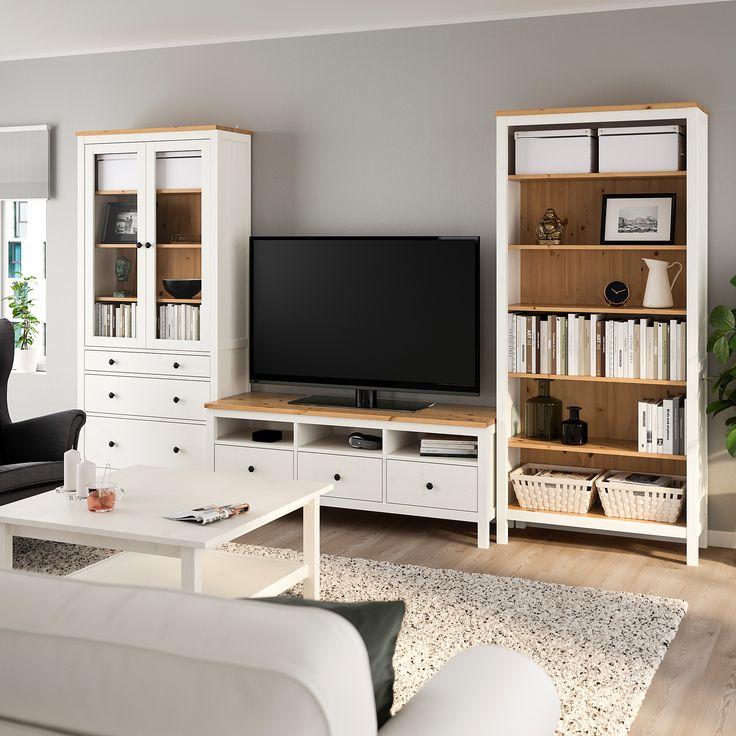 HEMNES TV-Möbel, Kombination weiß gebeizt, hellbraun Klarglas