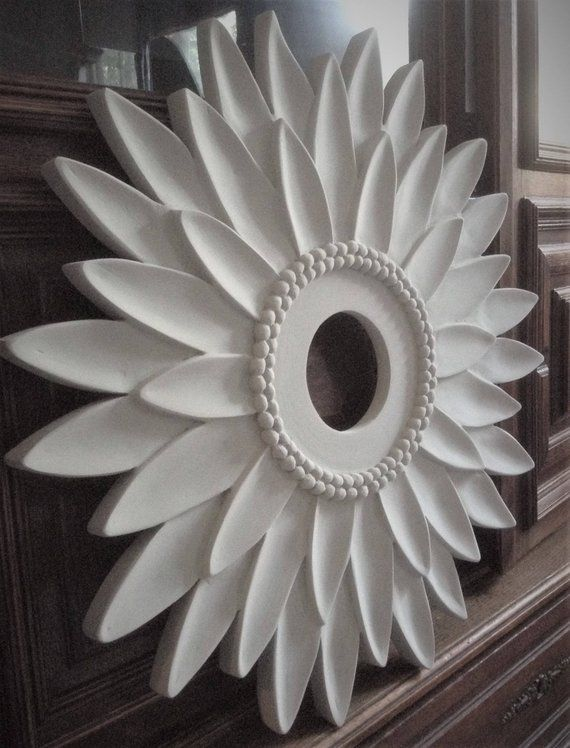 Ceiling Medallion Flower Decor White Decor Sunflower Decor Etsy In 2020 Modern Ceiling Medallions Flower Ceiling Ceiling Medallions