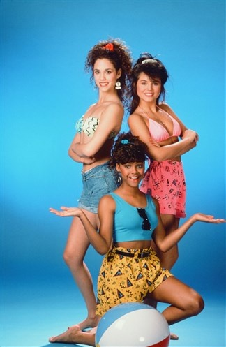 The Most Stylish TV Characters of All-Time: Elizabeth Berkley as Jessie Spano, Lark Voorhies as Lisa Turtle, and Tiffani Thiessan as Kelly Kapowski on Saved by the Bell, 1990.