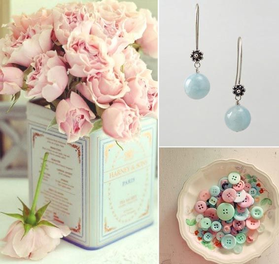 wedding color scheme - powder pink, baby blue & cream - YEEEEES!!!! My two fave colors!!!!! The cream looks pretty with them as well!!