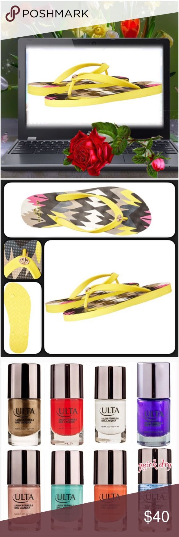 Coach Alessa 💞Super Cute, Super Coach💞 A bold geometric print; Yellow Hawk Feather in color; cushy rubber sole; distinctive hardware inspired by the iconic Coach turnlock; printed rubber 🎁One full-size (0.33 oz.) Ulta Salon Formula Nail Lacquer included w/purchase. Eye-It...Buy-It✌🏾️ Coach Shoes Sandals