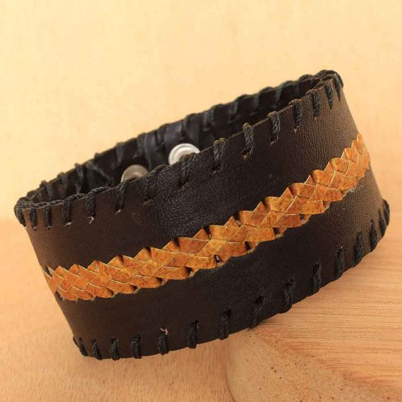 Black Leather Cuff for Men with Hand Woven by ArtisansintheAndes