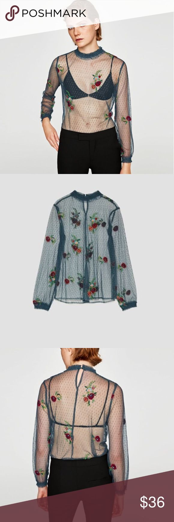 ZARA Embroidered Tulle Blouse ZARA Embroidered Tulle Blouse   • High collar  • Beautiful 3D embroidery  • Button fastener in back    📬  - Orders ship w/in 24- 48 hrs. Monday - Friday.  - Orders placed on weekends/holidays ship next business day.   Bundle 3 or more items for Private Offer Discount 😉 Zara Tops Blouses