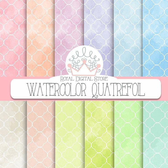 """Watercolor Digital Paper: """"Watercolor Quatrefoil Digital Paper"""" with watercolor background, quatrefoil pattern, watercolor pastel colors #watercolor #colorful #planner #pink #yellow #blue #digitalpaper"""