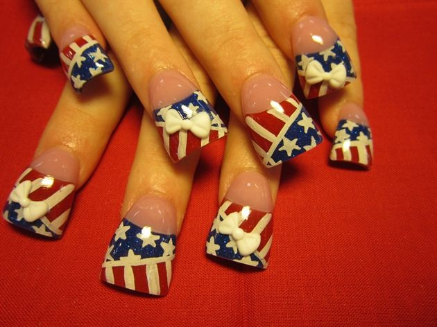17 best ideas about red french manicure on pinterest for 4th of july nail art decoration flag
