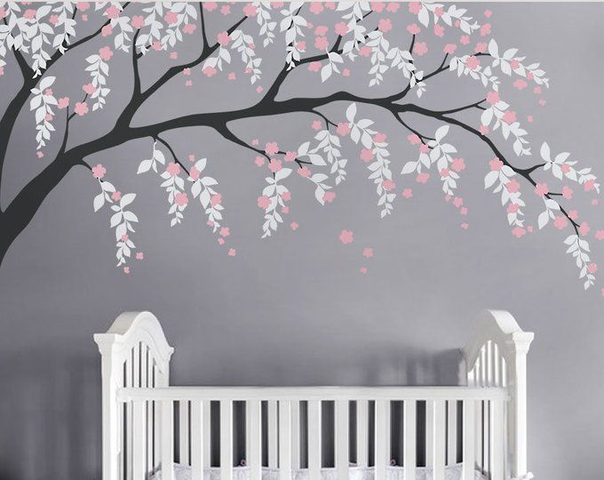 Cherry Blossom Tree Wall Decal Cherry Blossom Wall Decal Etsy Personalized Nursery Wall Decor Baby Nursery Wall Decals Vinyl Wall Tree