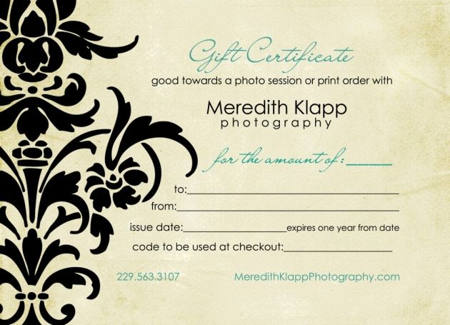19 best Gift Certificate Design images on Pinterest Certificate - photography gift certificate template