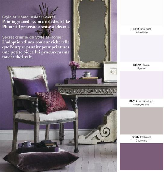 purple   grey would love this in a master bedroom but husband against purple. Maybe I'll have a home office or craft room one day.