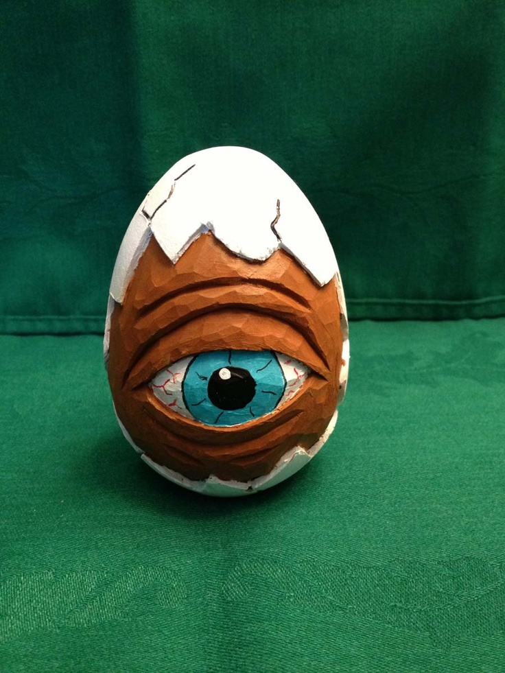 Hand Carved Peeping Wooden Goose Egg