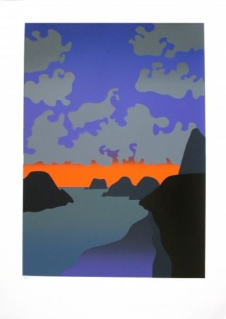 'Back Beach' painting by Michael Smither - west coast. 1500NZD. Blue, orange, grey and purple.
