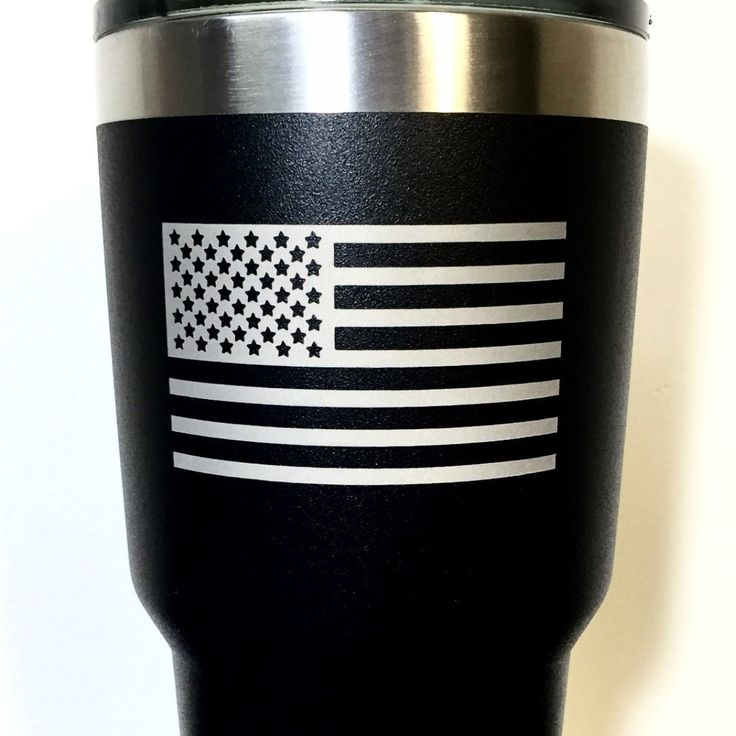 Black Ozark Trail Tumbler with American Flag, Deep Etched