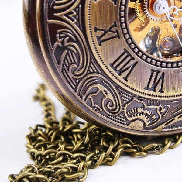 WOONUN Top Brand Luxury Steampunk Skeleton Mechanical Pocket Watch For Men Fashion Mechanical Clock Watch Roman Numeral Dial - Steampunk'd Store
