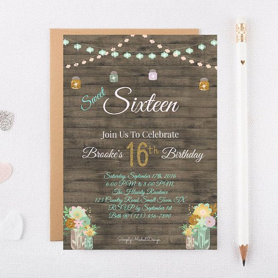Rustic sweet 16 Birthday Invitation - 30 Invitations printed on cardstock and envelopes