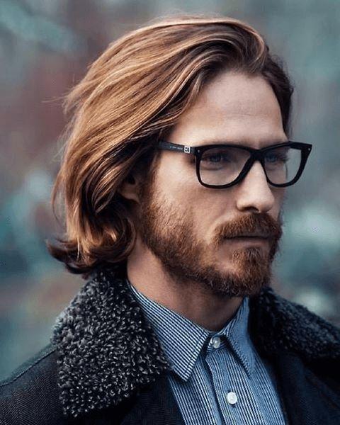 Coole frisuren lange haare männer mit brillen