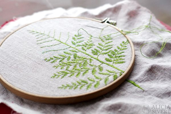 Fern leaf embroidery wip by alicia sivertsson