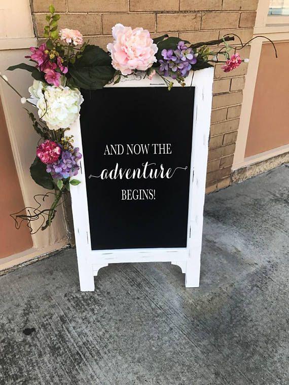 Deje que la aventura comienzan pizarra caballete boda signo pasillo decoración ceremonia signo recepción boda decoración gran pizarra Bienvenido a nuestro