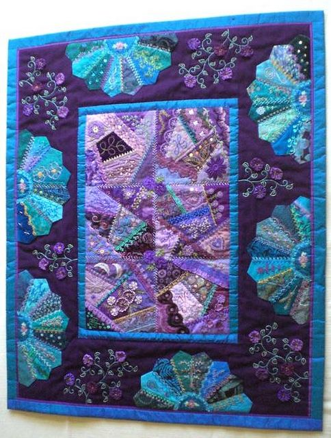 I ❤ crazy quilting & embroidery . . . beautiful, Full View- Crazy patchwork wall quilt. 26 x 32 inches ~By marcie carr    (love these colours, my favorites) . . .