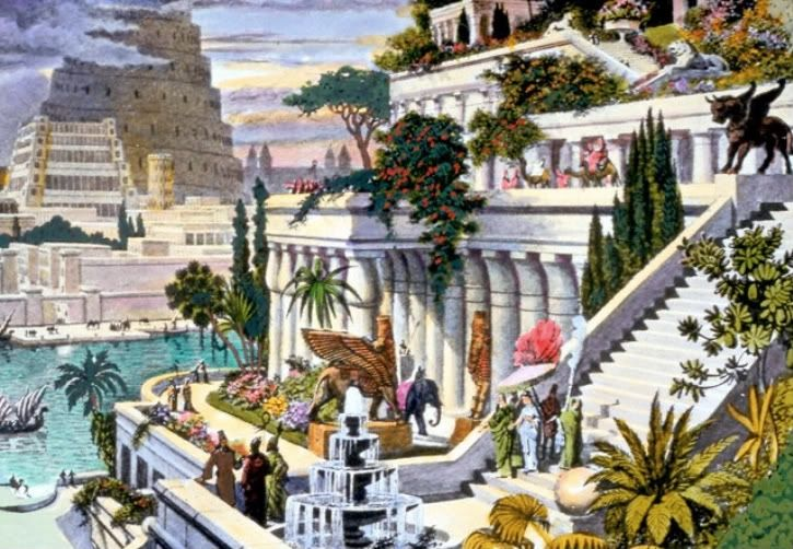 This hand-coloured engraving, probably made in the 19th century after the first excavations in the Assyrian capitals, depicts the fabled Hanging Gardens, with the Tower of Babel in the background