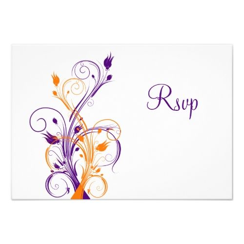 Purple RSVP Wedding Cards Purple Orange White Floral Wedding Reply Card