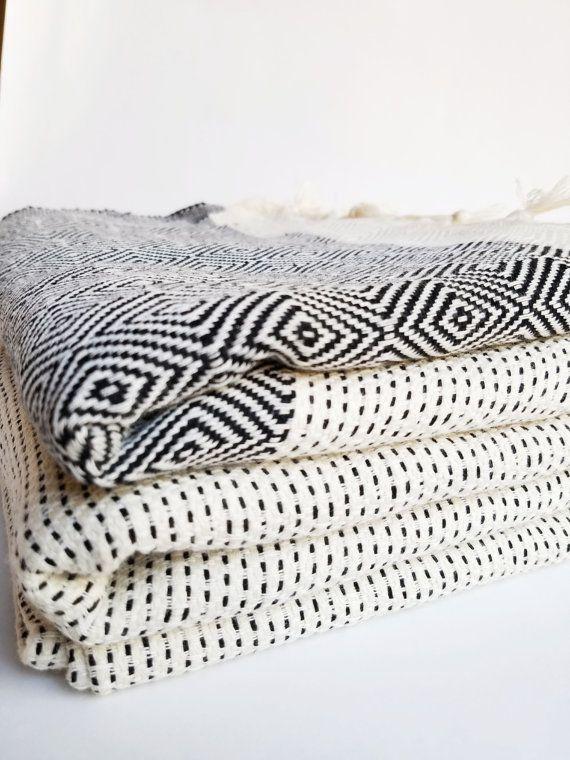 Black and White Buffalo Plaid Picnic Blanket Child-sized Beach Towel.