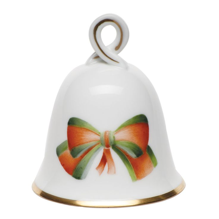 "Herend Hand Painted Porcelain Figurine ""Small Bell"" Multicolor w Gold Accents."