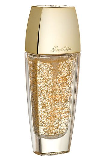 Guerlain L'Or. Infused with 24 karat gold! Got a sample of this- didn't know it was a makeup base! Keeps skin moist and dewy all day and I've used at night also. Excellent, expensive, and addictive!