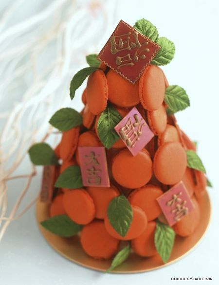 "Orange macaroon ""Chinese New Year tree"" cake - such a cute table centre piece..."