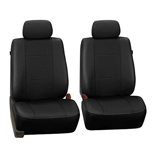 FH Group PU007BLACK102 Black Deluxe Leatherette Bucket Seat Cover, Set of 2 (Airbag Compatible). For product info go to:  https://www.caraccessoriesonlinemarket.com/fh-group-pu007black102-black-deluxe-leatherette-bucket-seat-cover-set-of-2-airbag-compatible/