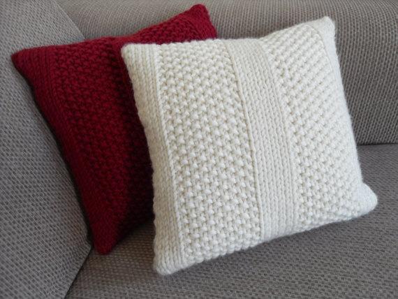 Emma's Moss Stitch Cushion Knitting Kit by thecraftclosetuk