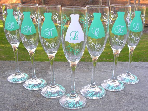 cute. Bridesmaid champagne glasses 7 Personalized by WaterfallDesigns, $84.00