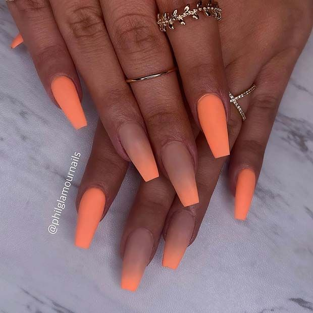 43 Of The Best Orange Nail Art Ideas And Designs Page 2 Of 4 Stayglam Pretty Acrylic Nails Orange Nails Orange Nail Art