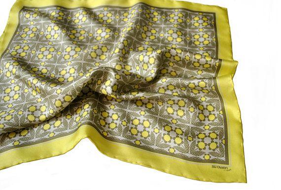 Lemon Daisy Silk Pocket Square / Yellow Silk Pocket Square /