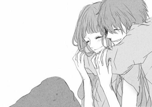 anime couple cuddle - Google Search